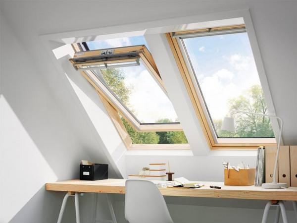 VELUX Dachfenster GGL 3359 Holz Schwingfenster klar lackiert THERMO-STAR Titanzink