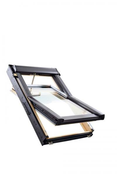 Roto Dachfenster Q4 Tronic W3C Holz weiß lackiert Schwingfenster Solar 3-fach Comfort Aluminium