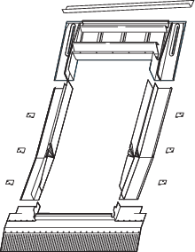 Roto EDJ Eindeckrahmen für Ziegel, Wellplatten, Biberschwanz vertieften Einbau Kupfer