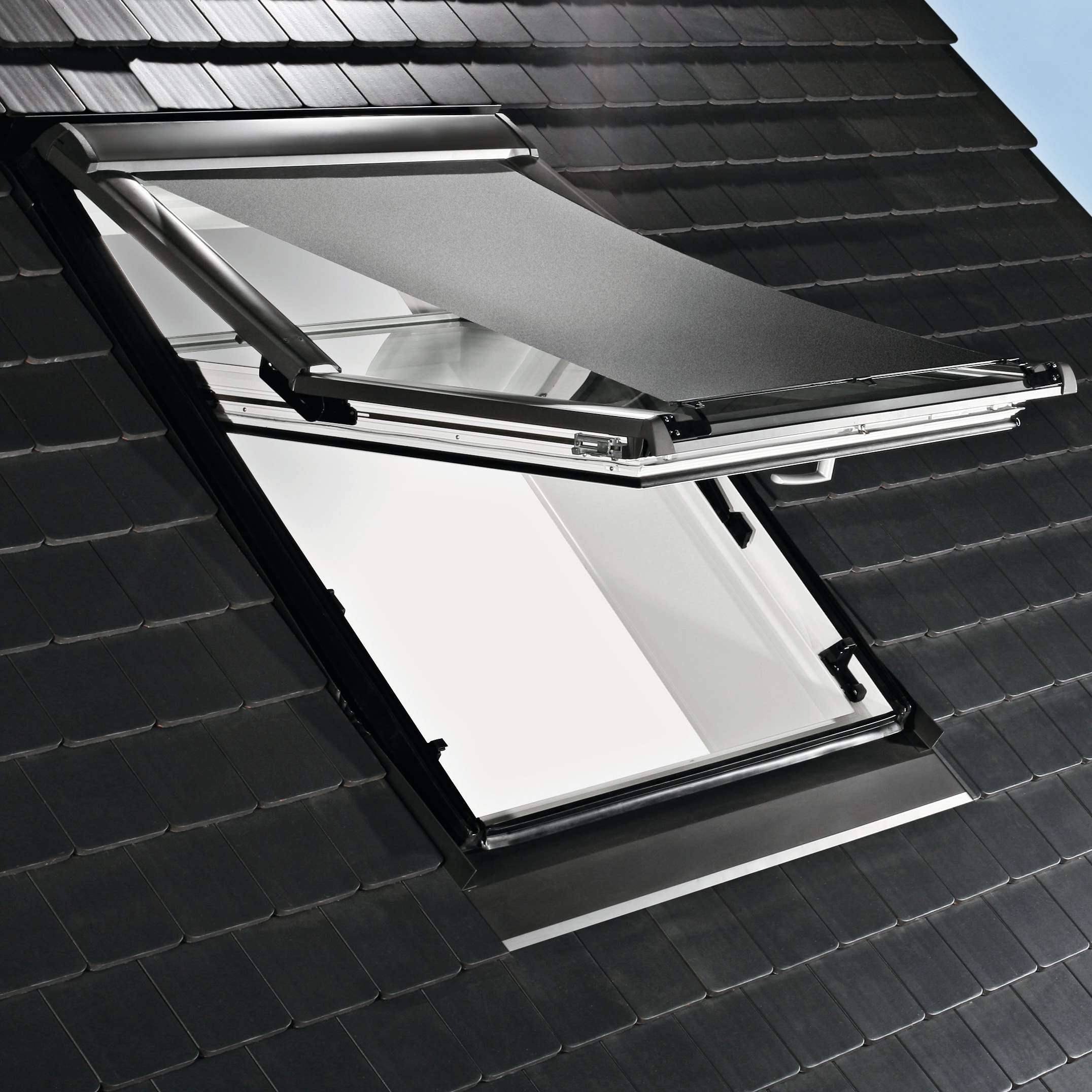 roto zar m r6/r8 hitzeschutz-markise screen manuell grau