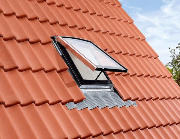 VELUX EDW 0100W Eindeckrahmen Ziegel hoch / Welle für historische Dachfenster GVR Kupfer