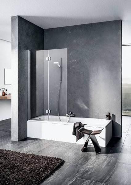 KERMI Faltwand LIGA aus Echtglas für Badewanne
