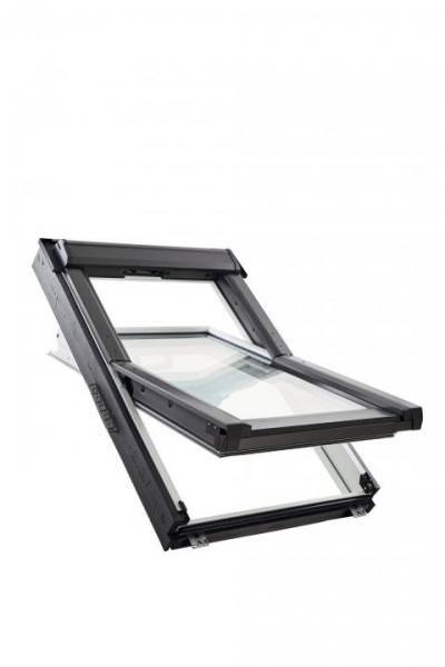 Roto Dachfenster Q4 W3C Holz weiß lackiert Schwingfenster 3-fach Comfort Kupfer