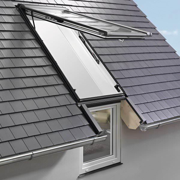 Roto Dachfenster WFA R19B Kunststoff Designo R1 Wohn-Fassadenanschlussfenster blueLine NE Plus