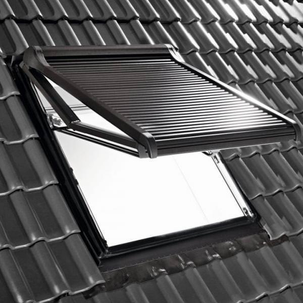 Roto ZRO SF R4/R7 Hitzeschutz-Rollladen Solar Funk Anthrazit-Metallic