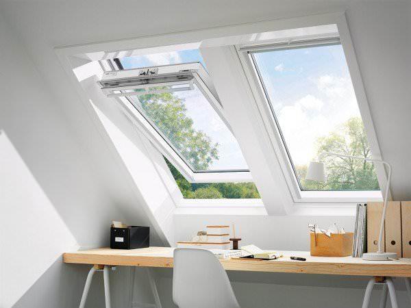 VELUX Dachfenster GGL 2162 Holz Schwingfenster weiß lackiert ENERGIE SCHALLSCHUTZ Kupfer