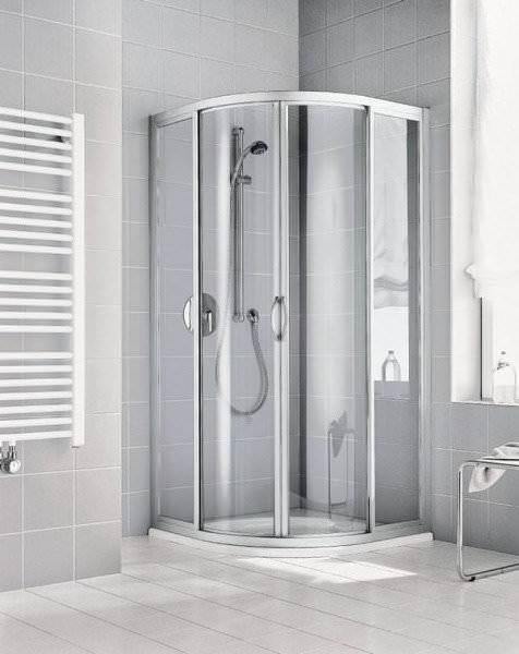 KERMI Viertelkreis-Gleittür Duschkabine IBIZA 2000 aus Echtglas