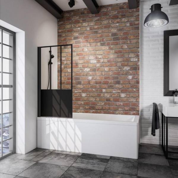 Schulte Black Style Badewannenfaltwand 1-teilig Dekor Atelier 5
