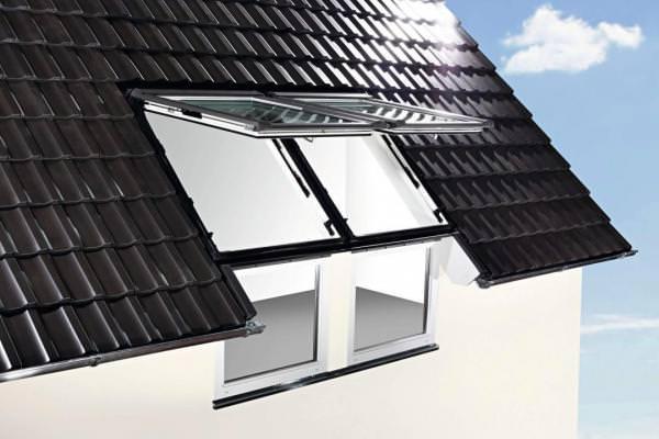 Roto Eindeckrahmen EFA Designo Rx Fassadenanschluss Ziegel durchgehende Seitenteile 2x1 Aluminium wä