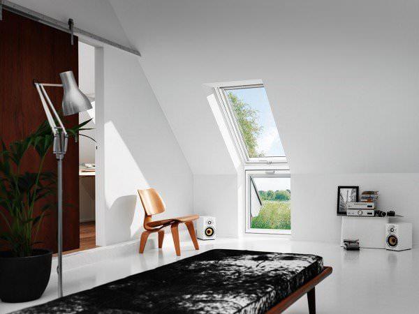 """VELUX Dachfenster VFE 2370 Holz Zusatzelement """"Wand"""" weiß lackiert THERMO Titanzink"""