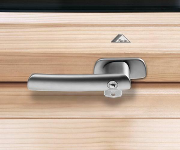 Roto ZUB GRF Abschließbarer Griff für Roto Holzfenster WDF R6/R8 / WSA R8 silber