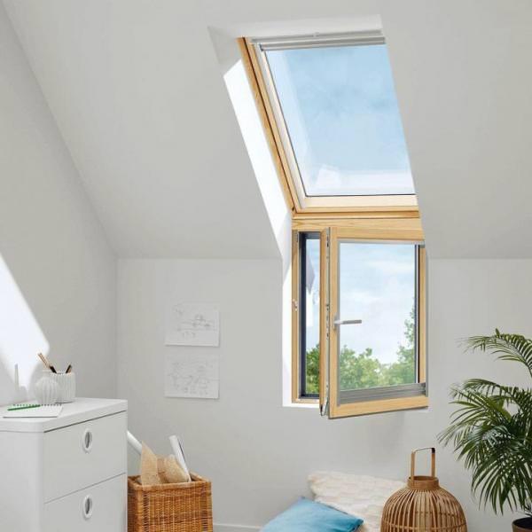 "VELUX Dachfenster VFA 3066 Holz Zusatzelement links ""FASSADE"" Energie Plus Aluminium"