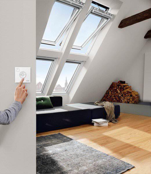 VELUX Dachfenster GGL 236621 Holz INTEGRA® Elektrofenster weiß lackiert ENERGIE PLUS Titanzink