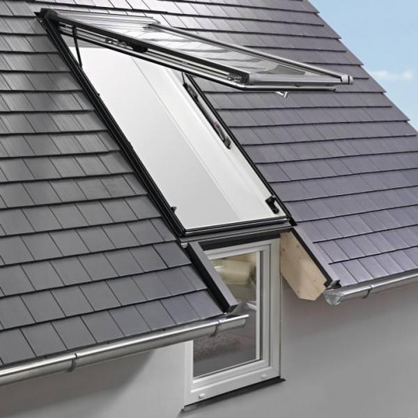 Roto Dachfenster WFA R19F Kunststoff Designo R1 Wohn-Fassadenanschlussfenster blueLine NE Eco
