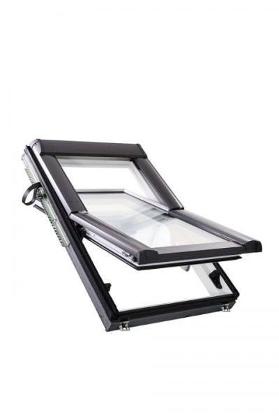 Roto Dachfenster WDF R68C Holz weiß lackiert Designo R6 Schwingfenster 2-fach Comfort Aluminium