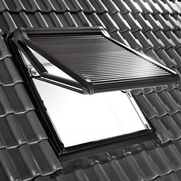 Roto ZRO SF 43/73 Hitzeschutz-Rollladen Solar Funk Anthrazit-Metallic