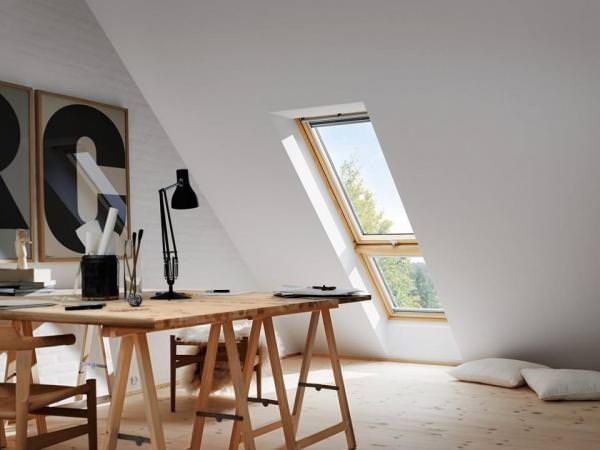 """VELUX Dachfenster GIL 3070 Holz Zusatzelement """"Dachschräge"""" klar lackiert THERMO Aluminium"""