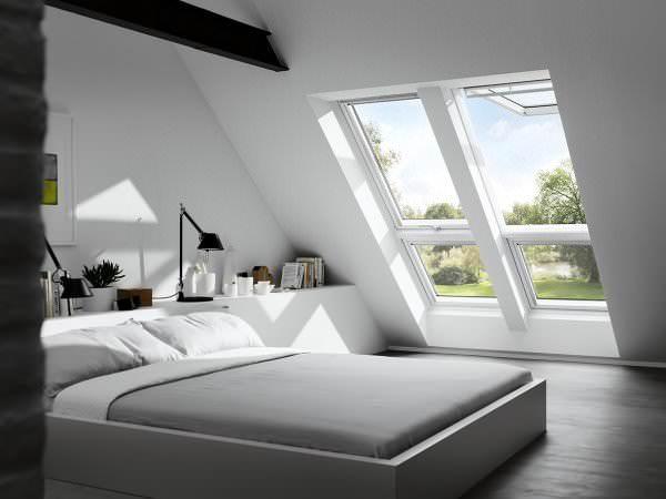 VELUX Dachfenster GPU SK0W2 Kunststoff Systemlösung Quartett THERMO Aluminium 12 cm