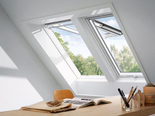 VELUX Dachfenster GPL 2170 Holz Klapp-Schwingfenster weiß lackiert THERMO Kupfer