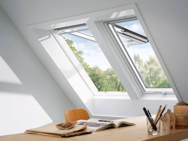 VELUX Dachfenster GPL 2160 Holz Klapp-Schwingfenster weiß lackiert THERMO PLUS Kupfer