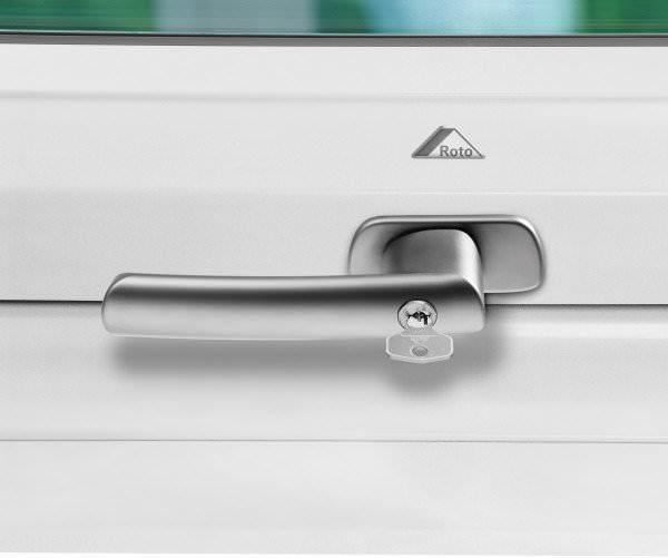 Roto ZUB GRF Abschließbarer Griff für Roto Kunststofffenster WDF R6/R8 / WSA R8 silber