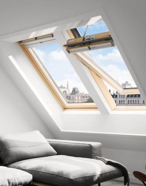 VELUX Solar Dachfenster GGL 336630 Holz klar lackiert INTEGRA ENERGIE PLUS Titanzink