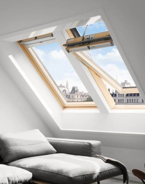 VELUX Solar Dachfenster GGL 316630 Holz klar lackiert INTEGRA ENERGIE PLUS Kupfer