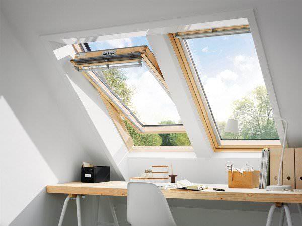 VELUX Dachfenster GGL 2166 Holz Schwingfenster weiß lackiert ENERGIE PLUS Kupfer