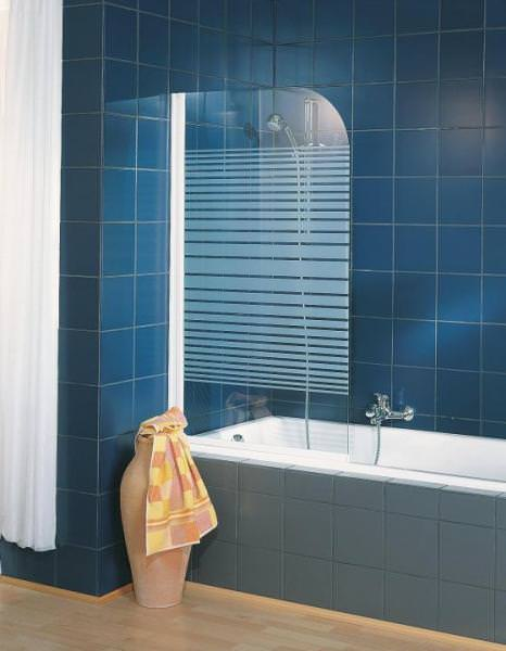 Schulte ExpressPlus Komfort Badewannenfaltwand Rahmenlos 1-teilig mit Dekor Querstreifen
