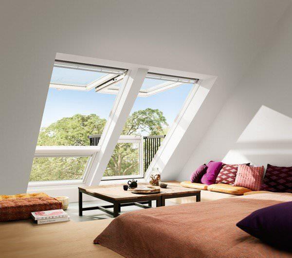 VELUX Dachfenster GDL 3166 Holz Dachaustritt CABRIO klar lackiert ENERGIE PLUS Kupfer