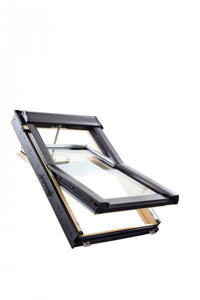 Roto Dachfenster Q4 Tronic W3C Holz weiß lackiert Schwingfenster Elektrisch 3-fach Comfort Kupfer