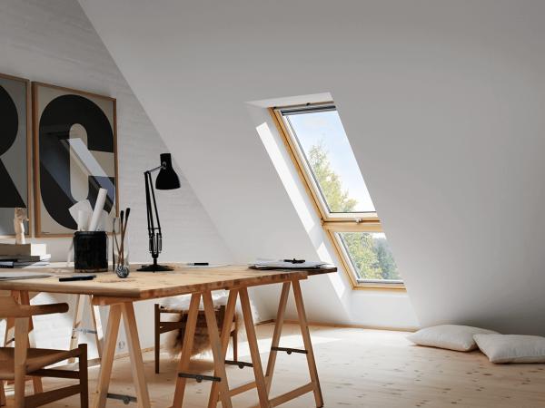 """VELUX Dachfenster GIL 3162 Holz Zusatzelement """"Dachschräge"""" Energie Schallschutz Kupfer"""