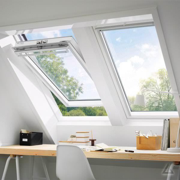 VELUX Dachfenster GGL 2368 Holz Schwingfenster weiß lackiert ENERGIE Titanzink