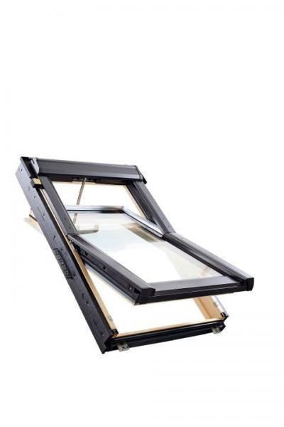 Roto Dachfenster Q4 Tronic H3C Holz Schwingfenster Funk 3-fach Comfort Kupfer