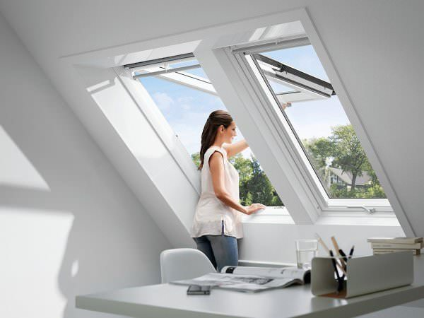 VELUX Dachfenster GPL SK0W20 Holz Systemlösung Duo weiß lackiert THERMO Aluminium