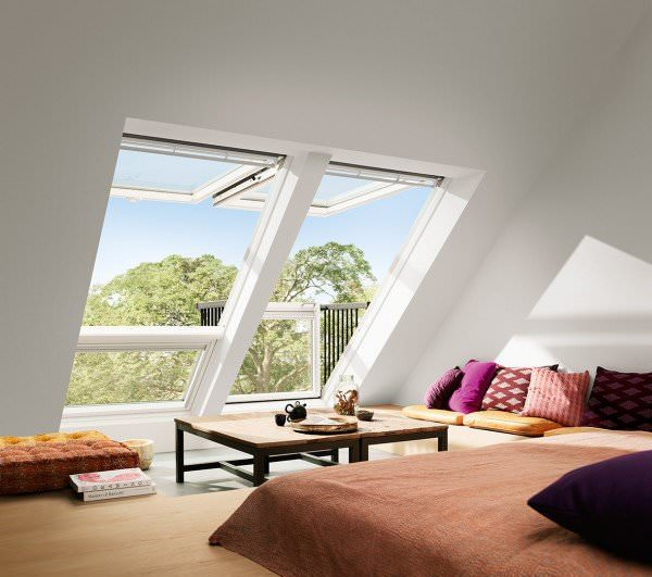 velux dachfenster gdl 2366 holz dachaustritt cabrio wei lackiert energie plus titanzink. Black Bedroom Furniture Sets. Home Design Ideas