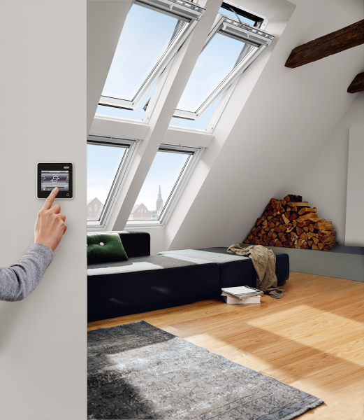 VELUX Dachfenster GGL 216821 Holz INTEGRA® Elektrofenster weiß lackiert ENERGIE Kupfer