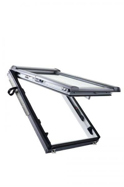 Roto Dachfenster WDF R89P Holz weiß lackiert Designo R8 Klapp-Schwingfenster 3-fach Premium Aluminiu