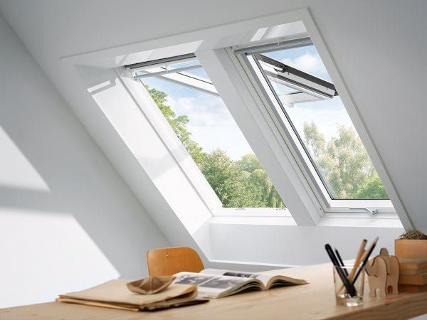 VELUX Dachfenster GPL 2370 Holz Klapp-Schwingfenster weiß lackiert THERMO Titanzink