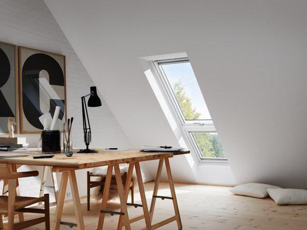 """VELUX Dachfenster GIL 2370 Holz Zusatzelement """"Dachschräge"""" weiß lackiert THERMO Titanzink"""