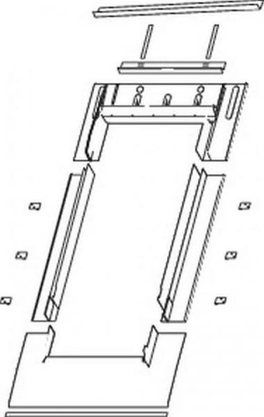 Roto EDN Eindeckrahmen für Schiefer mit Schichtstücken vertieften Einbau Titanzink