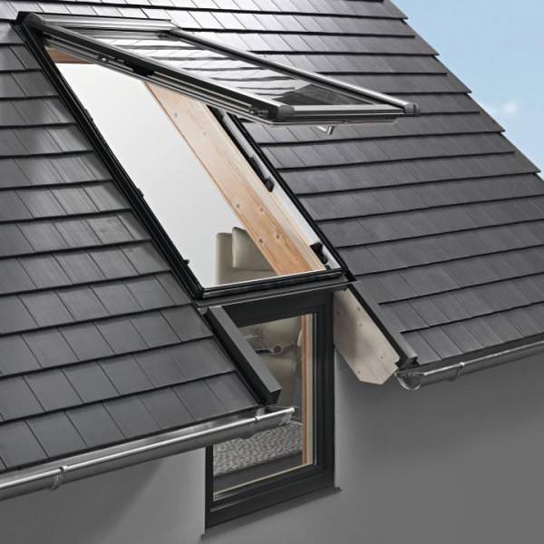 Roto Dachfenster WFA R19B Holz Designo R1 Wohn-Fassadenanschlussfenster blueLine NE Plus Aluminium